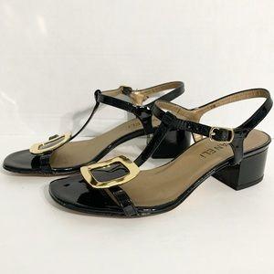 Vaneli Square Heeled T-Strap Sandals Buckle Detail